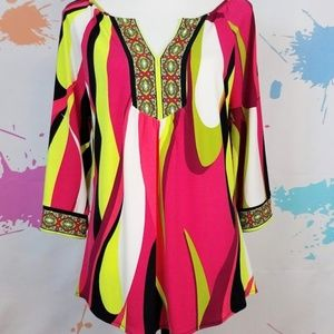 MADISON Pink & Yellow Colorful Blouse Women's M
